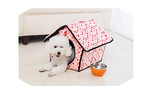 Product Dog Bed Soft Dog Kennel Dog House for Pets Cat Puppy Home Shape Animals House Products for Animal Removable Bow tie,Pink,24X28X30CM
