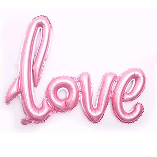 Valentine Love Letters - Love Balloons Pink 40 inch Mylar Large Love Script Letter Balloons Set Foil Wedding Engagement Valentines Proposal Balloons Baby Shower Bridal Shower Anniversary Decor of 2019 BALLOON (Not Float)