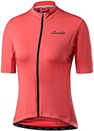 Santic Women's Cycling Jersey Full-Zip Short Sleeve Pu