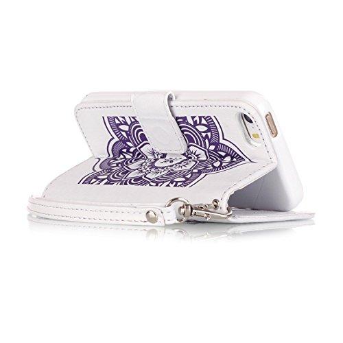 Voguecase® für Apple iPhone 5 5G 5S hülle, Kunstleder Tasche PU Schutzhülle Tasche Leder Brieftasche Hülle Case Cover (Diamant/Campanula Blume/Weiß/Lila) + Gratis Universal Eingabestift