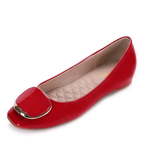 AalarDom Womens Soft Material Pull-On Square-Toe Low-Heels Solid Pumps-Shoes Red-metal ZWS2vNNq