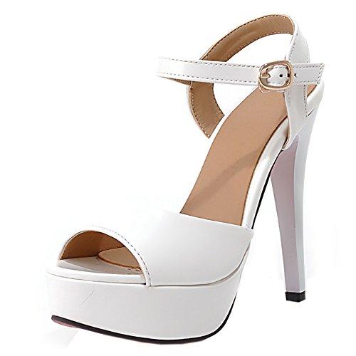 TAOFFEN Sandali Bianco con Sexy Stiletto Donna Toe Peep pPFTfpnW
