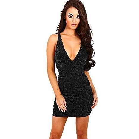 Vestidos De Fiesta De Brillo Ropa De Moda 2017 Sexys Cortos Largos Negros Para Mujer Elegantes Casuales (L) VE0018 at Amazon Womens Clothing store: