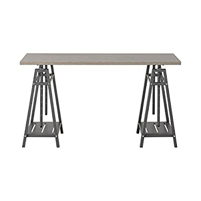 Home Star Adjustable Desk - Engineered Wood top in Reclaimed Wood finish Durable metal steel base 8 height adjustment options - writing-desks, living-room-furniture, living-room - 410ZaKxpVaL. SS400  -