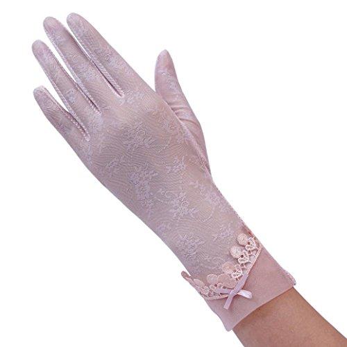Elevin(TM) Women Sexy Etiquette Nightclub Glove Wedding Bridal Gloves Satin Dance Lace Glove (Pink) ()