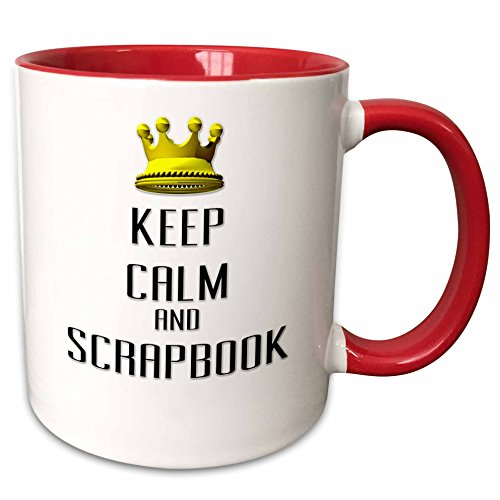 3dRose Blonde Designs Gold Crown For Keep Calm Various Things - Gold Crown Keep Calm And Scrapbook - 15oz Two-Tone Red Mug (Scrapbook Mug)