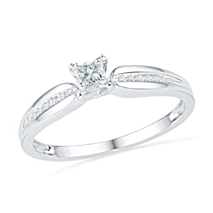 10KT White Gold Princess and Round Diamond Promis Ring (0.13 CTTW)