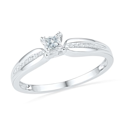 (10KT White Gold Princess and Round Diamond Promis Ring (0.13 CTTW))