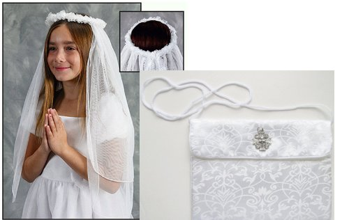 Set of Girls First Holy Communion Veil Wreath and White Satin Purse with Charm or Pendant