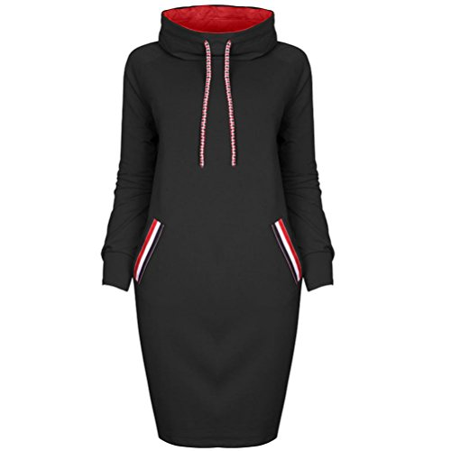 Women's Casual Winter T Shirt Solid Bodycon Dress Ladies Long Sleeve Hooded Mini Dress Pullover Tops