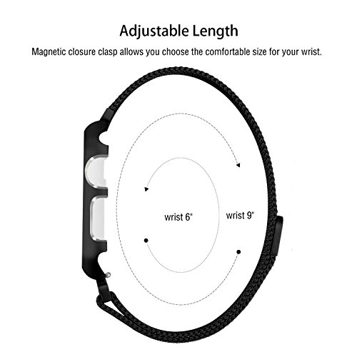 For Apple Watch Band 42mm/38mm Upgraded Stainless Steel Magnetic iwatchband with Metal Case for Apple Watch Series 3 Series 2 Series 1 Protective Bumper Replacement Strap