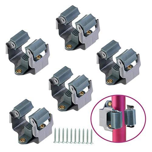TinaWood 5pcs Mop and Broom Holder/Bathroom Storage Organizer Mop Hanger/Wall Mounted Garden Storage Rack with Screws…