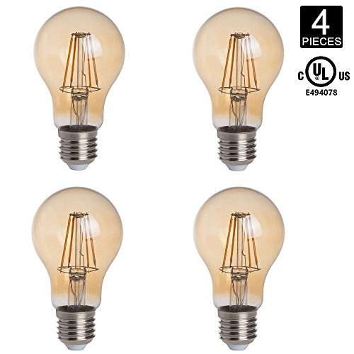 (HERO-LED A19-DSGT-4W-WW22 Dimmable Gold Tint 4W Victorian Style A19 E26/E27 LED Vintage Antique Filament Bulb, 40W Equivalent, Ultra Warm White 2200K (Amber Glow), UL-Listed, 4-Pack)