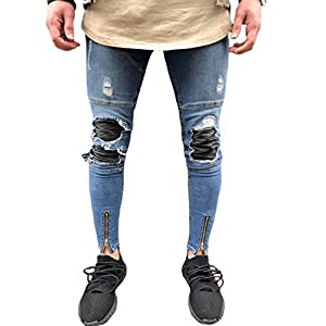 Men's Stretchy Ripped Skinny Pencil Jeans Tapered Leg Denim Pants