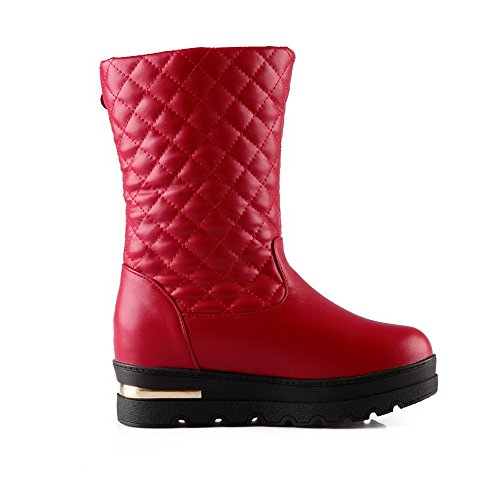 Boots Closed AgooLar Red Top Toe Solid Soft Round Heels Kitten Women's Low Material qqwpHPgAB
