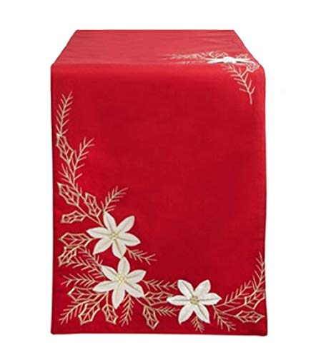 Nantucket Red Christmas Table Runner for Dining, Kitchen, Coffee Table or Dresser, 72 inches Long with Elegant Embellished White Poinsettia and Gold Embroidered Holly Leaves for Dining and Home Decor (Table Nantucket Kitchen)