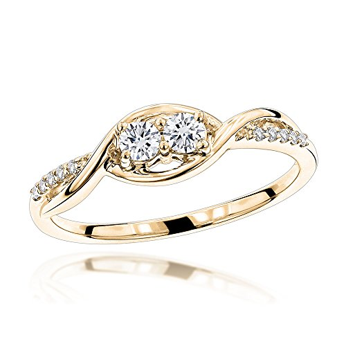 Love And Friendship Natural 0.25 Ctw Diamond Ring For Women (Yellow Gold Size 6.5) (Diamond Flower Right Hand Ring)