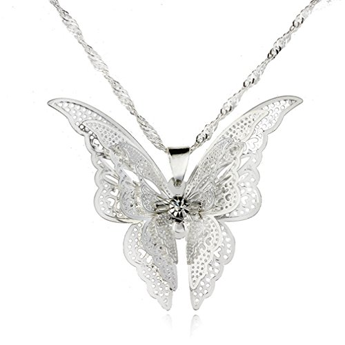 (Dolland Silver Open Filigree Beautiful Butterfly Pendant Necklace for Women)