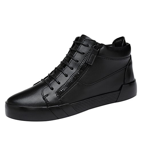 Black Men's Chukka Boot Insun Sneakers Leather zipper up Lace 0Ugzwv