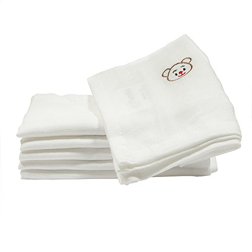 Reusable Baby Cloth Wipes, Natural, Organic 100% Cotton Muslin Washcloth, Facecloth,White 6 pack, No Dye, Safe for Sensitive Skin, Mini-Muslin Cloth Wipes (11.8 x 11.8 inches) (Best Fabric For Cloth Baby Wipes)