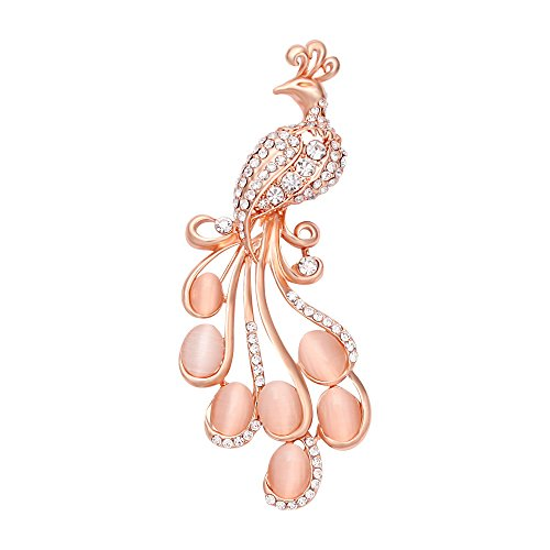 MANZHEN Womens Gorgeous Crystal Opal Peacock Bird Brooch Pin Jewelry for Party (Rose Gold)