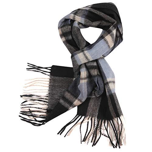 Cashmere Wool Scarves, WAMSOFT Mens Womens Fall Winter Scarf Classic Tassel Plaid Scarf Warm Soft Scarves(1 Pack-Deep Grey Plaid)