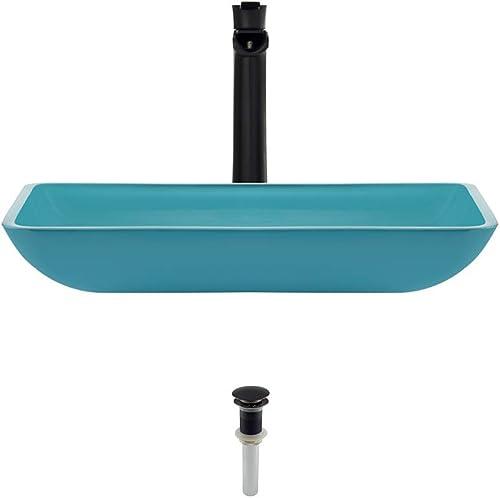 640 Turquoise Antique Bronze Bathroom 731 Vessel Faucet Ensemble Bundle – 3 Items Vessel Sink, Vessel Faucet and Pop-Up Drain