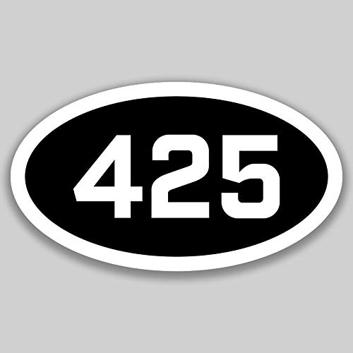 DHDM 425 Area Code Sticker Washington Bellevue Bothell Cascade-Fairwood City Pride Love | 5-Inches by 3-Inches | Premium Quality Vinyl UV Resistant Laminate ()