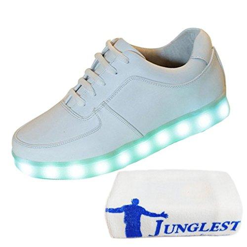[Present:kleines Handtuch]Weiß 2 EU 44, USB Aufladen LED Turnschuhe Leuchtende weise Sneaker J