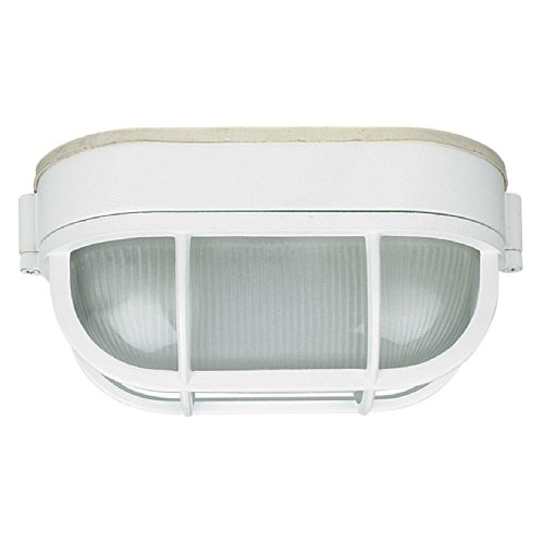 Light White Finish 30 (Sunset Lighting F7990-30 Outdoor Flush Mount with Frosted Prismatic Glass, White Finish)