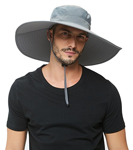 Super Wide Brim Sun Hat-UPF 50+ Protection,Waterproof Bucket Hat for Fishing, Hiking, Camping, Boating,Breathable Nylon & Mesh (Light Grey)