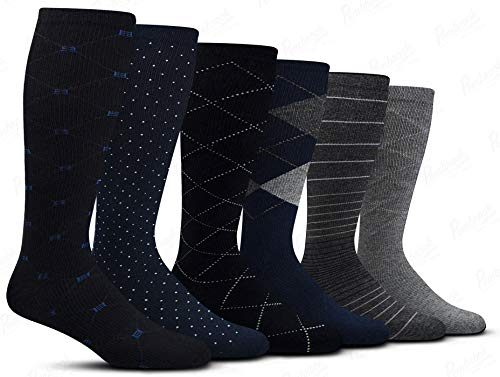 Men's Compression Socks (6-Pack) - L/XL - Multicolored - Graduated Muscle Support, Relief and Recovery. Great for Running, Medical, Athletic, Diabetic, Travel, Nursing (8-15 mmHg)