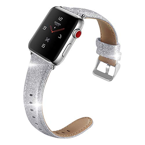 (iHillon Compatible with Apple Watch Band 42mm/44mm, Glittering Soft TPU Genuine Leather Straps Compatible with Apple Watch Series 4, Series 3, Series2/1, Sport and Hermès, Women Men,)