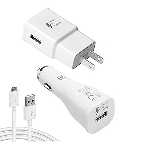 Adaptive Fast 15W Kit for Asus Transformer Book T100TA 64GB with Quick Charge Wall+Car+MicroUSB Cable gives 2x faster charging! (White)