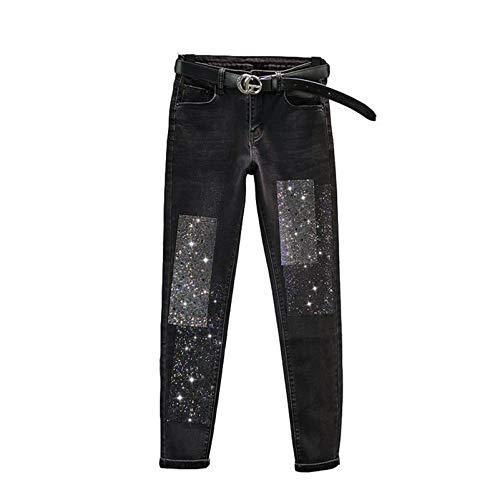 Women Slim Diamonds High Waisted Jeans Spring Autumn Ankle-Length Denim Pencil Pants