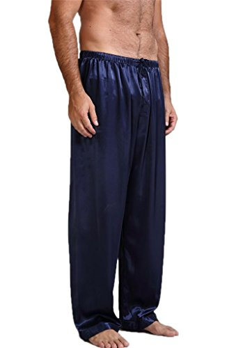 Mens Silk Satin Pajamas Pyjamas Pants Sleep Bottoms Navy Blue L by Lonxu