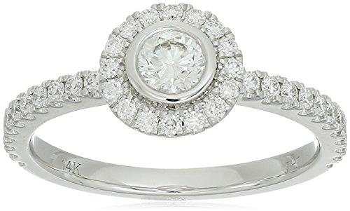 - 14K White Gold 0.52ctw Diamond Ring, Size 7