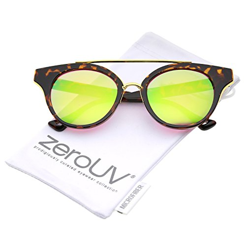 zeroUV - Double Nose Bridge Round Colored Mirror Lens Cat Eye Sunglasses 51mm (Tortoise-Gold / Green - Sunglasses Jeepers Peepers