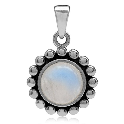 8MM Natural Moonstone 925 Sterling Silver Bali/Balinese Style Pendant