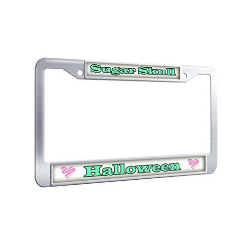 FramePro Stainless Steel License Plate Frame,Sugar Skull Halloween License Plate Frame Automotive Luxury License Plate Covers With Screw Caps