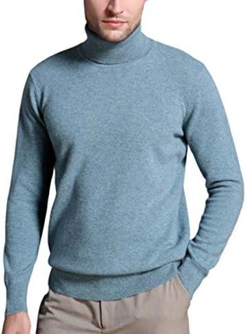 メンズタートルネックニットプルオーバー単色カシミアニットセータープルオーバー長袖セータートップ
