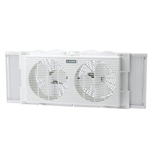 Window Lasko Twin (Lasko 7 Inch TWIN WINDOW Fan with Manual Exhaust & Intake Positions, Expander Panels For Custom Fit, Snap On Feet For Table Or Floor Use)