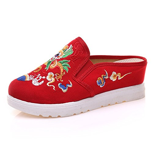 Fanwer Chinese Canvas Embroidery Platform Indoor-Outdoor Womens Loafer Slippers For Girls Red bFm2jC