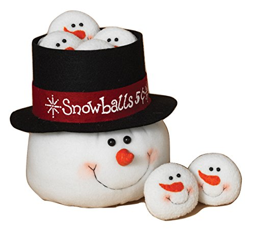 Snowman Head Tophat Basket And Mini Snowman Snowball Heads Christmas Decoration