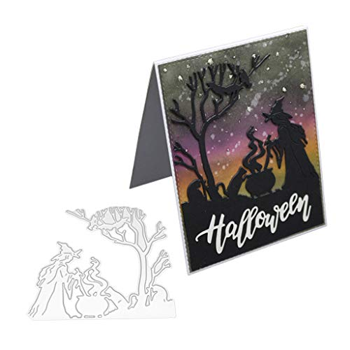 TIANYA Halloween Witch Metal Cutting Dies Stencil for DIY Scrapbooking Paper Card Embossing Craft Decor