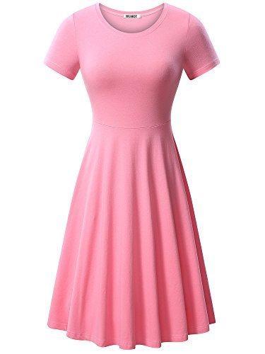 HUHOT Women Short Sleeve Round Neck Summer Casual Flared Midi Dress(Light -