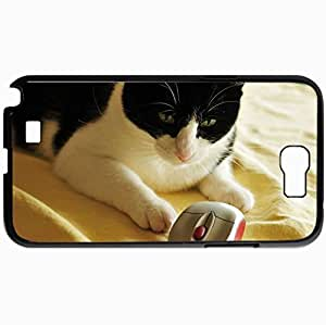 Personalized Protective Hardshell Back Hardcover For Samsung Note 2, Cat Computer Mouse Toy Play Spotted Design In Black Case Color