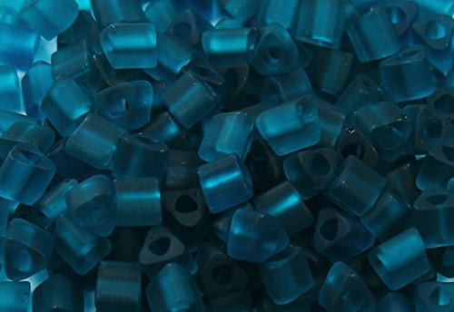 8/0 Triangle TOHO Japanese Glass Seed Beads # 7BDF-Transparent-Frosted Teal 15g