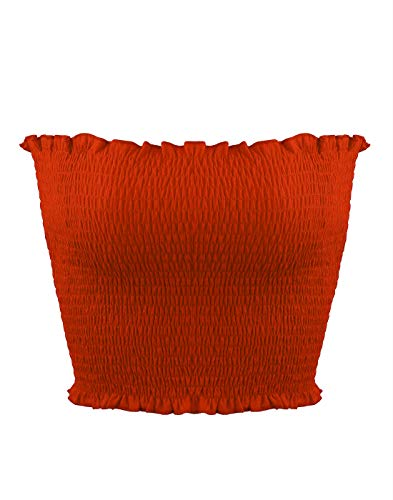 Orange Tube Top - Sweetbei J Womens Strapless Pleated Summer Sexy Bandeau Tube Crop Tops Orange XS