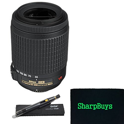 Nikon AF-S DX VR Zoom-Nikkor 55-200mm f/4-5.6G IF-ED Lens for Nikon D90 SLR Camera + Deluxe SharpBuys Bundle. Package includes: Nikon AF-S DX VR Zoom-Nikkor 55-200mm f/4-5.6G IF-ED Lens + Lens pen and microfiber cleaning cloth